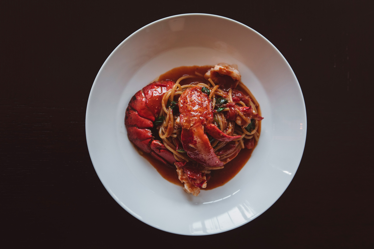 Spaghetti with lobster and chilli